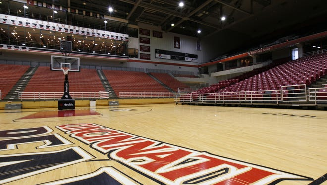 The floor at the  Fifth Third Arena / Shoemaker Center on the University of Cincinnati campus.