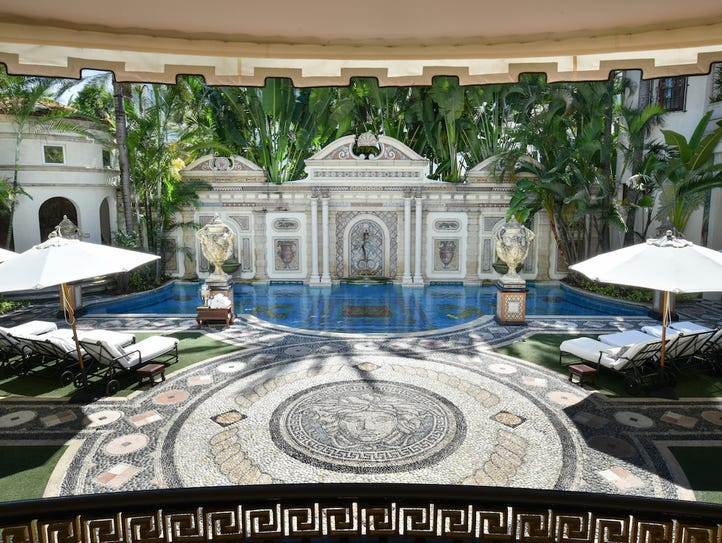 The 54-foor long pool at the former Versace mansion