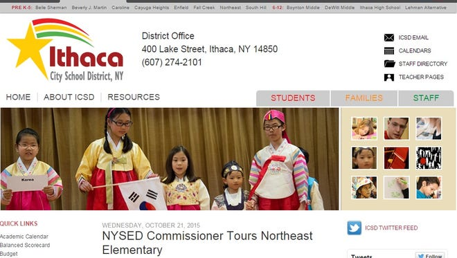 A screen shot of Ithaca City School's current website.