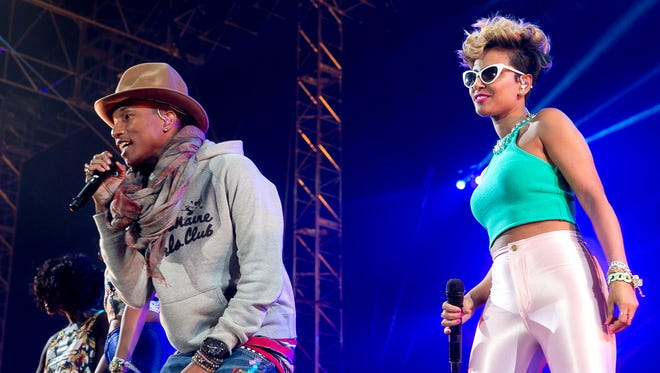 Pharrell Williams (left) performs at the Outdoor stage during Coachella Music & Festival Weekend 1 held at Empire Polo Club in Indio on Saturday, April 12, 2014.