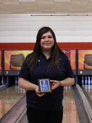 Schoolcraft's Angela Rodriguez won the award for women's high game at Friday's Schoolcraft bowling invitational at Merri-Lanes. She threw a 213 game.