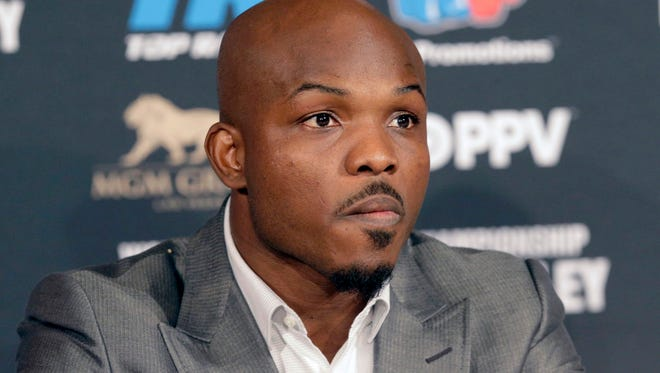 Timothy Bradley Jr., takes questions during a news conference in Beverly Hills on Tuesday, Jan. 19, 2016. Bradley is scheduled to face Manny Pacquiao on April 9 in Las Vegas. (AP Photo/Nick Ut)