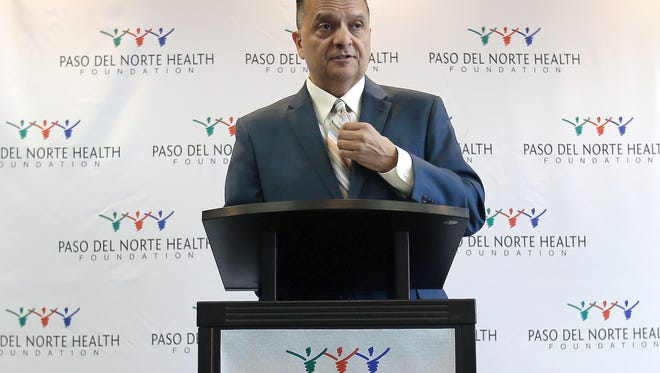 Paso del Norte Health Foundation Board President Dr. Jose Prieto announces a $6 million grant to help start up the Texas Tech Health Sciences Center Woody L. Hunt School of Dental Medicine.