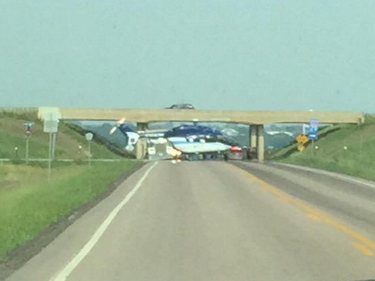Helicopter is shown on Interstate 29 near the Baltic exit at mile marker 94 on Friday afternoon.