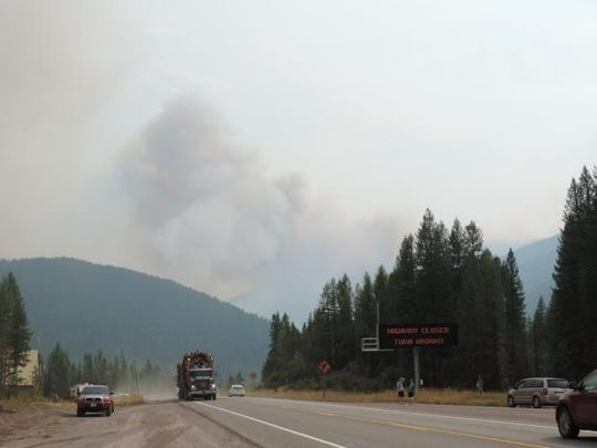 Highway 2 was closed mid-day Thursday until further notice east of Essex because of the approach of the Sheep fire.