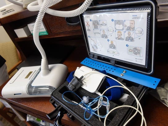 Home sleep study and CPAP equipment is on display at