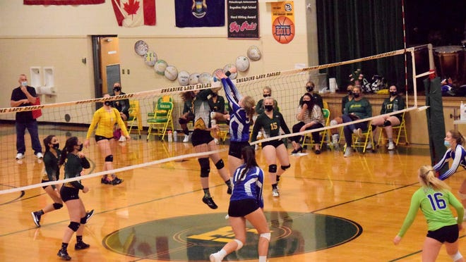 Brimley's Paige Johnson goes up for a block during a match at Engadine Monday night.