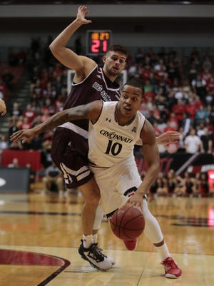 Cincinnati Bearcats guard Troy Caupain (10) drives to the basket in the first half during the college basketball exhibition game between the Bellarmine Knights and the Cincinnati Bearcats, Wednesday, Nov. 2, 2016, at Fifth Third Arena in Cincinnati.