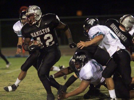 Chandler Hamilton's star running back Terrell Suggs,