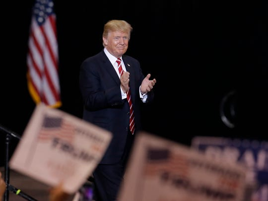 President Trump speaks at a rally in Phoenix on Aug.
