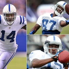 Who is the Colts' No. 1 receiver? It could be Hakeem Nicks (left), Reggie Wayne (upper right) or T.Y. Hilton (lower right).