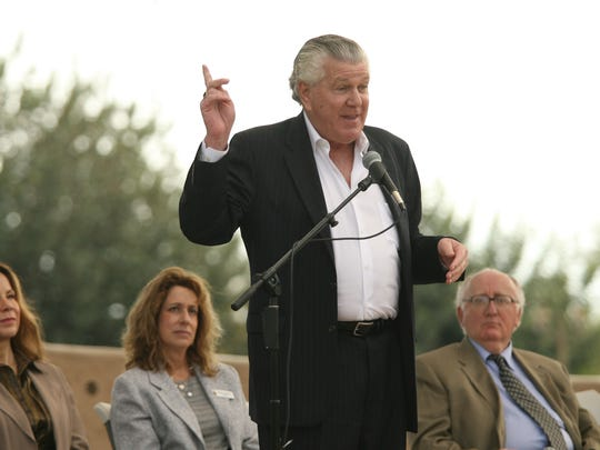 Local radio personality Bill Feingold speaks during a ceremony at Palm Desert Civic Center Park and the Desert Holocaust Memorial to mark International Holocaust Remembrance Day on Sunday, January 27, 2013.
