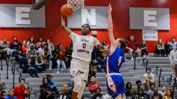 Wade Hampton's Caleb Henry (0) goes up for a dunk against