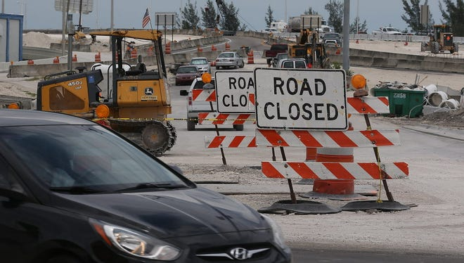 Construction work is seen at the 826 and 836 State Road Interchange on July 30, 2015 in Miami, Florida.