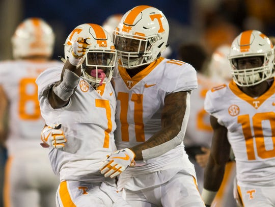 Tennessee defensive back Rashaan Gaulden (7) and Tennessee