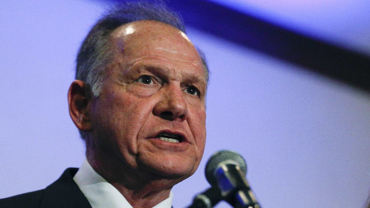 Roy Moore event interrupted by heckler