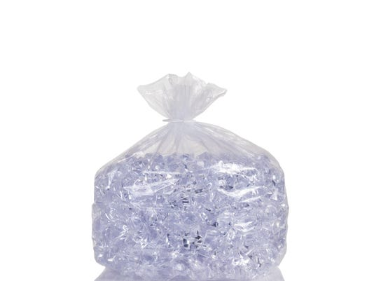 Clear plastic bag filled with ice cubes