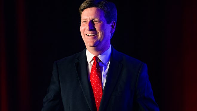 Mayor Greg Stanton delivers his State of the City address Wednesday, April 8, 2015, at the Sheraton Downtown Phoenix Hotel.
