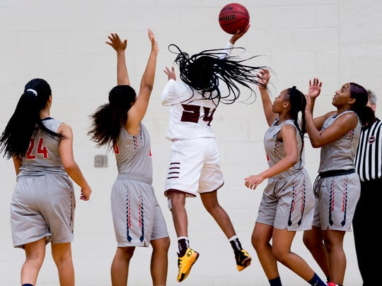 Fulton's Lay Lay Manning (24) shoots the ball during a game between Fulton and West high schools at Fulton in Knoxville, Tennessee on Friday, December 22, 2017.