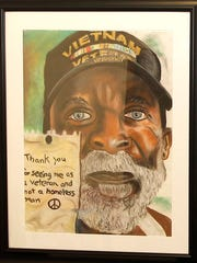 """Willie Weaver-Bey's  2015, """"Thank you for seeing me as a veteran and not a homeless man,"""" first place in the pastels category at the 2016 National Veterans Creative Arts Festival."""