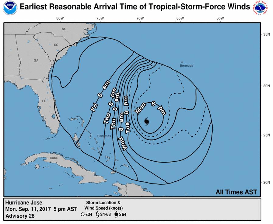 Hurricane Tracker Map shows Hurricane Joses unusual track to US