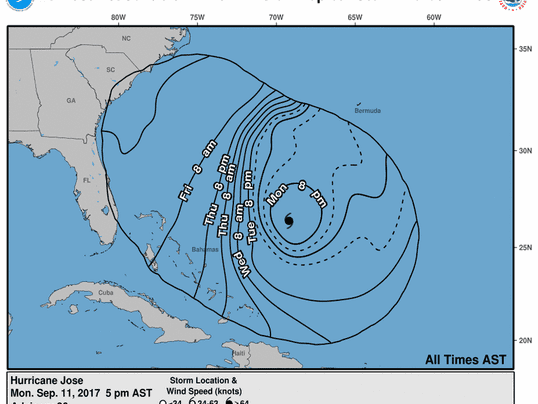 Hurricane Tracker Map Shows Hurricane Joses Unusual Track To US - East coast map of us
