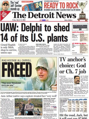 The front page of The Detroit News on March 31, 2006.