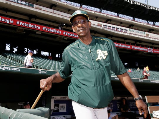 Ron Washington with the Athletics on June 23, 2015. In his eight seasons (2007-14) as Rangers manager, the team went 664-611 with two World Series appearances.