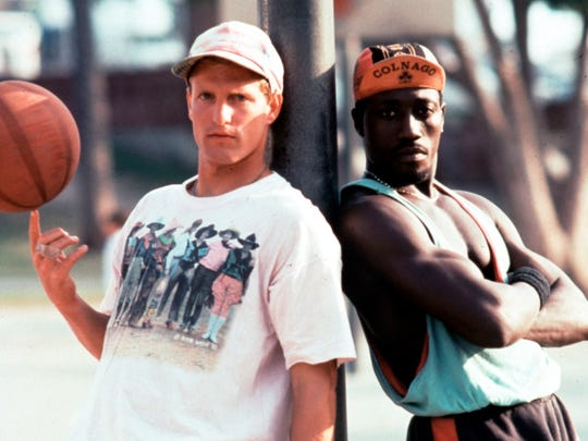 "Woody Harrelson and Wesley Snipes are a pair of rival hustlers-turned-teammates in ""White Men Can't Jump."""