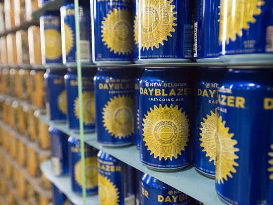 Empty cans await their turn on the canning line at