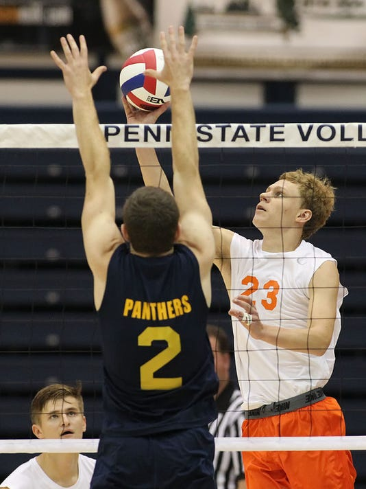 Northeastern's Brandon Arentz (23) puts the ball over the net against Saegertown during game action of the PIAA 2A Boys Volleyball Championships at Penn State University Saturday June 6, 2015. Chris Knight - GametimePa.com