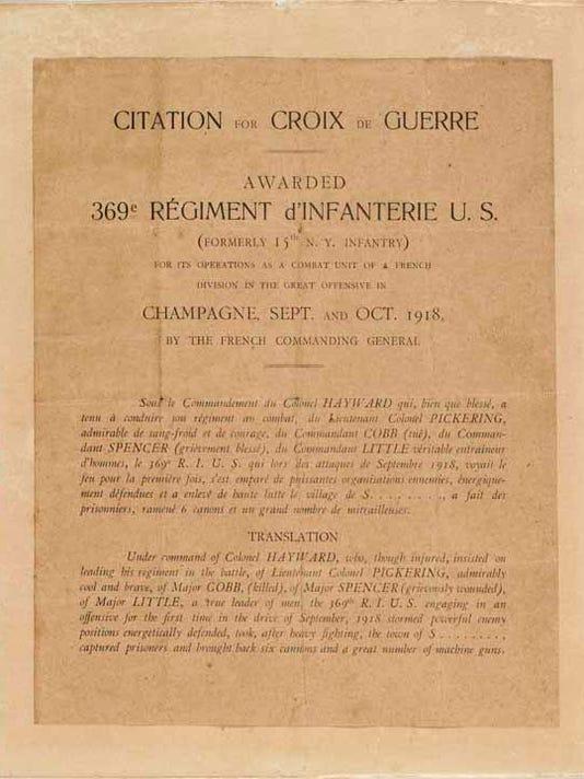 Citation de Croix de Guerre