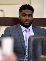 Cory Batey sits and watches before court gets started during day three of his trial in Judge Monte Watkins' courtroom in the A. A. Birch building April 6, 2016, in Nashville.