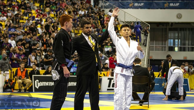 "Kenneth ""Mosquito"" Ledesma wins his first match against Allen Joseph Kasper in the International Brazilian Jiu-Jitsu Federation World Championships held June 2-5 in Long Beach, California."