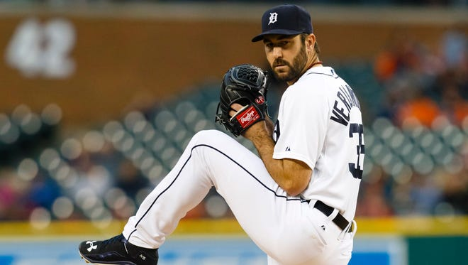 Verlander pitches in the first inning at Comerica Park.