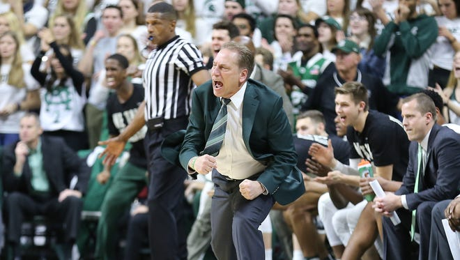 Michigan State coach Tom Izzo reacts to a play in the first half against Michigan at Breslin Center on Saturday.