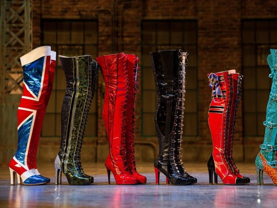 """A lineup of the boots used in the finale of """"Kinky Boots."""" These boots are worn by the Angels, the drag ensemble that performs with Lola, the show's leading characters."""