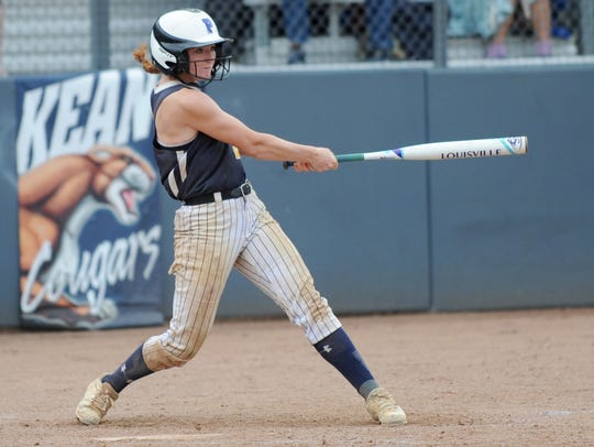 Gloucester's Meghan Ferry hits during the Group 1 softball state final against Roselle Park at Kean University last spring. Ferry is one of the top players returning in the region this season.