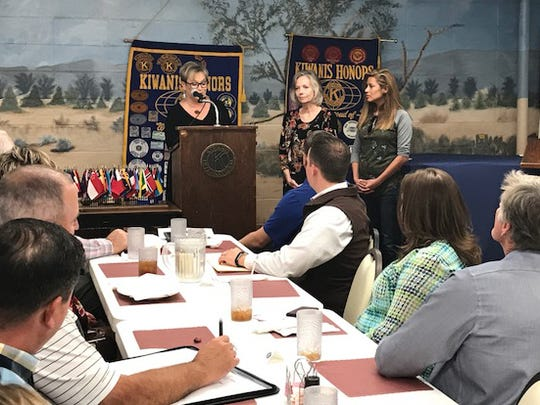 Representatives from House of Faith are awarded a grant from the San Angelo Downtown Kiwanis Club meeting Tuesday, Oct. 17, 2017.