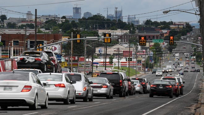 Traffic moves along Nolensville Road on May 24, 2017, in Nashville.