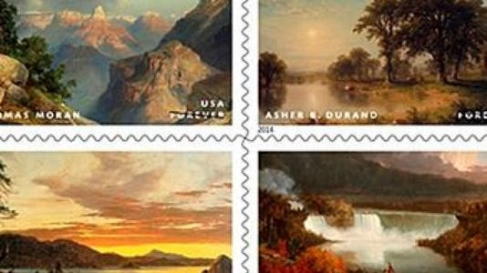 """Hudson River School stamps released Aug. 21 by the United States Postal Service. The stamps are 12th in the USPS's """"American Treasures"""" series and feature paintings by Thomas Cole, Asher B. Durand, Frederic E. Church and Thomas Moran."""