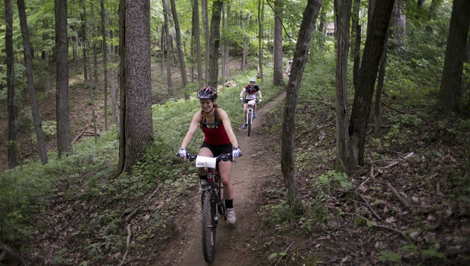 Mountain bikers take a trail ride in Brown County State Park.
