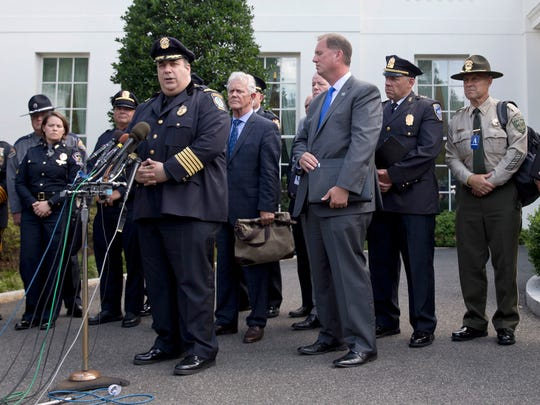 Gloucester, Mass., Police Chief Leonard Campanello, joined by other members of law enforcement from around the country, talks to media outside the White House in Washington, D.C., on July 6, 2016, after meeting with senior Obama administration officials to discuss the urgent need for resources to address the nationwide prescription opioid and heroin epidemic.