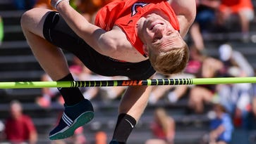 Valley's Austin Reding competes in the high jump on Thursday, May 19, 2016, during the Iowa High School State Track Meet at Drake University.