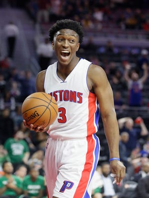 Pistons forward Stanley Johnson reacts after being called for a foul during the second half of the Pistons' 99-93 loss to the Celtics Saturday at the Palace.