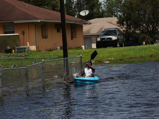 Standing water like this from Hurricane Irma in Lehigh