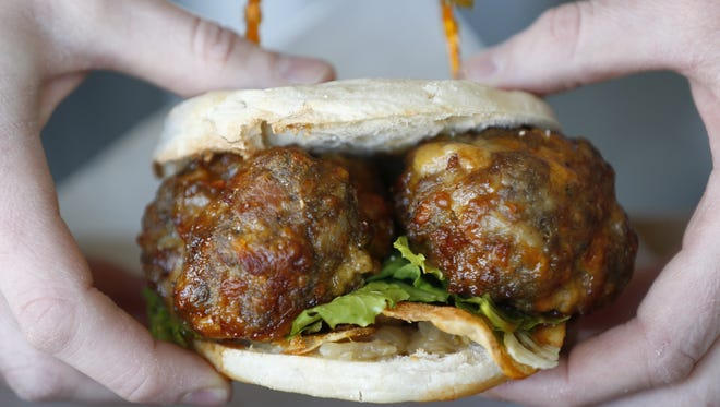 The Meatball Kitchen's bacon/cheddar meatball burger.