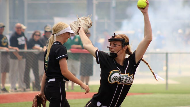 Calvary pitcher Sarah Chamberlain warms up prior to a game in Sulphur.