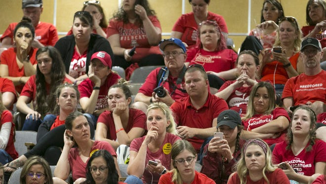 Teachers and other supporters in the gallery listen as the Senate votes on bills during the sixth day of the Arizona teacher walkout at the Arizona state capitol in Phoenix on Thursday, May 3, 2018.  Today will likely bill the final day of the walkout as Governor Ducey signed an education funding bill into law early Thursday morning.
