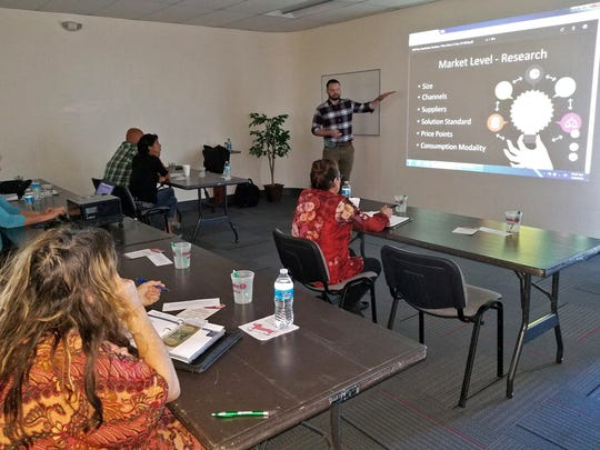 Studio G Director Kramer Winingham presents a free half-day business accelerator workshop at New Mexico State University Alamogordo. Studio G was recently ranked by UBI Global as a world top 20 university business incubator.